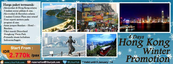 Ingin merasakan serunya Musim Dingin di Hong Kong? Yuk booking paketnya sekarang juga, kini tersedia paket 4 Hari #Hongkong #Winter #Promotion. Ada harga spesial lho!  Dapatkan Spesial Paket tersebut dari LiburYuk http://liburyuk.com/promotional-package/book/63999478/4D-HONGKONG-WINTER-PROMOTION #jalan2 #holiday @Carol Van De Maele Neary