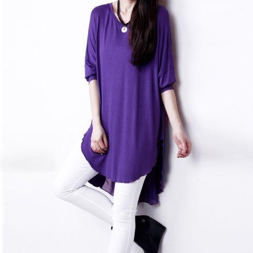 (9.29$)  Buy here - http://ai592.worlditems.win/all/product.php?id=G0907PU-L - Fashion Women T-Shirt Chiffon Patchwork Asymmetric Hem Crew Neck Batwing Sleeve Loose Top Black/White/Purple