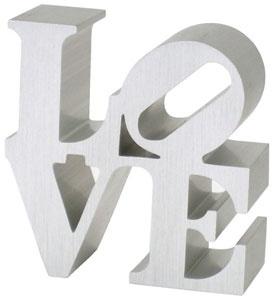 Robert Indiana's love sign replica in silver