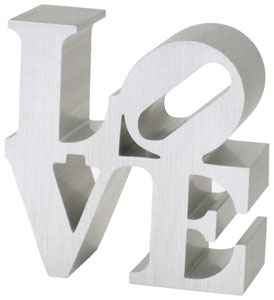 Robert Indiana's love sign replica in silver