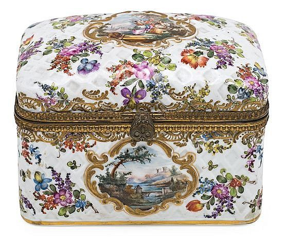 Description: Gilt-bronze mounted Meissen-style porcelain box, late 19th Century 14x18x12 cm crossed swords w/ E C, HC