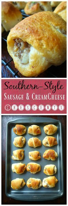 Southern Style Sausage & Cream Cheese Crescents ~ add the sausage and cream cheese filling on the top of Crescent roll and then top with the second can of Crescent rolls! #Sausage