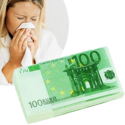 ¡Que no te toquen más las narices! Si te quieres sonar la tocha con billetes de 100 euros, ahora nadie te lo va a impedir. Te ofrecemos los pañuelos de papel 100 Euros, un paquete de pañuelos suaves con diseño de billetes de 100 euros a todo color.