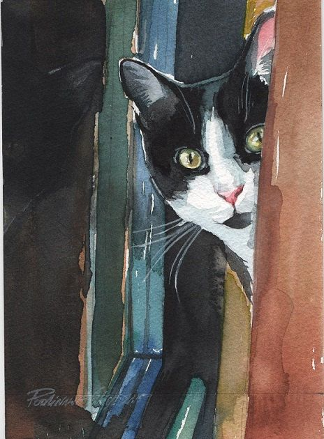 Original Watercolor Painting Tuxedo Cat Kitty by creativeartistic