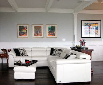 Best Gray Grey For Rooms Living Room Stonington Gray With Dark Wood Floors,  White Coffered Ceilings And White Leather Couch Part 87
