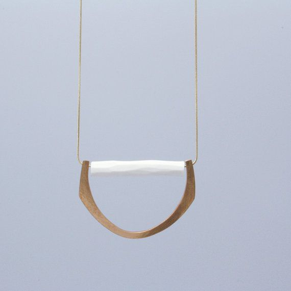 PORCELAIN and BRONZE Necklace // porcelain jewelry // geometric jewelry on Etsy, $104.81