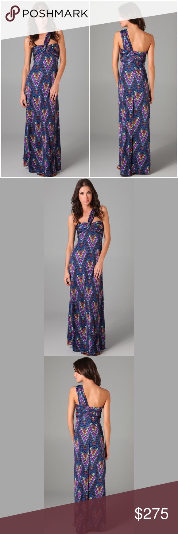 """NWT Mara Hoffman Twist Front Tribal Maxi Dress **RARE** This one-shoulder print silk-jersey maxi dress features a knot detail at the bust and ruching and boning at the lined bodice. Hidden side zip. 4"""" strap.  * 56"""" long, measured from shoulder. * Fabrication: Silk jersey. * 100% silk. * Dry clean. * Made in the USA. Mara Hoffman Dresses Maxi"""