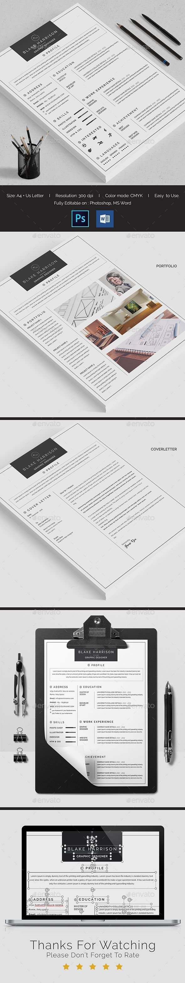 Resume u2014 Photoshop PSD 2 piece resume career