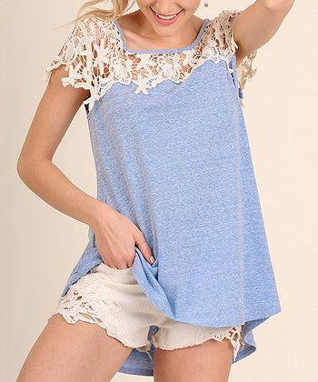 Sky Crochet Short-Sleeve Top