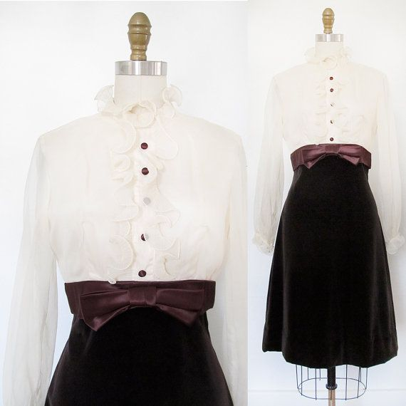 Vintage Tuxedo Dress . 1960s Brown Velveteen by GinnyandHarriot