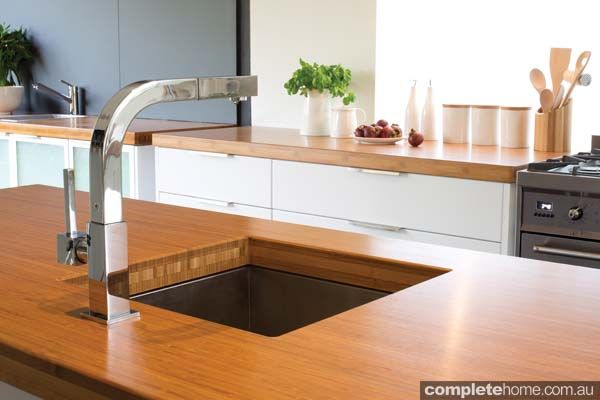 under-mount sink in a timber benchtop