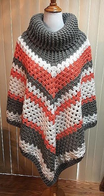 Poncho Crochet Sweater Gray Knit Cowl Neck Turtleneck Boho Striped Handmade | eBay