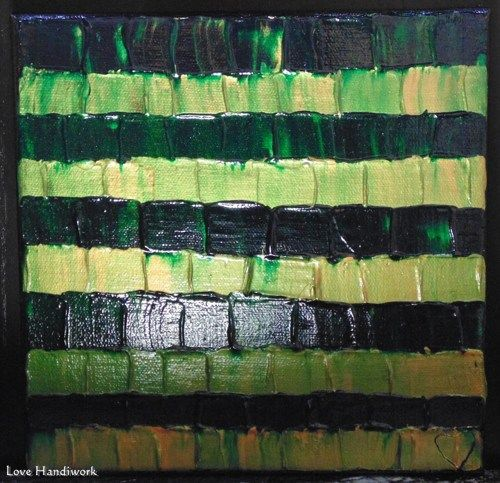 "Love 3 - GREEN & COPPER ABSTRACT 8""x8"" Square Painting, Art"