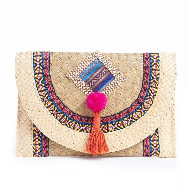 Straw and Textile Clutch Bag ($43) ❤ liked on Polyvore featuring bags, handbags, clutches, straw purse, straw handbags, beige handbags, beige purse and beige clutches