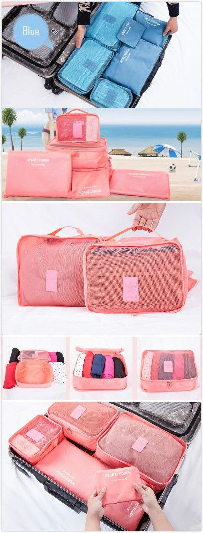 Travelling Luggage Bag Home Organizer 6pcs Set. #camping #travel #organizer Coupon code:Happyday07 ,12% off
