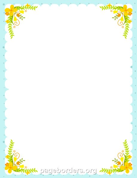 Printable yellow flower border. Use the border in Microsoft Word or other programs for creating flyers, invitations, and other printables. Free GIF, JPG, PDF, and PNG downloads at  http://pageborders.org/download/yellow-flower-border/