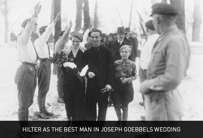 Hitler as the best man in Joseph Goebbels wedding