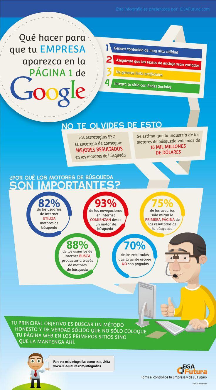 Cómo aparecer en la página 1 de Google #infografia #infographic #seo