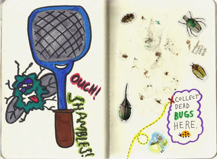 Wreck This Journal: Pages 190-191 Collect Dead Bugs Here.