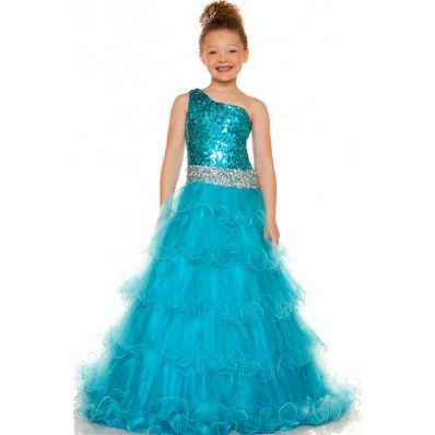 Cute A Line One Shoulder Blue Turquoise Sequin Tulle Girl Evening Party Dress
