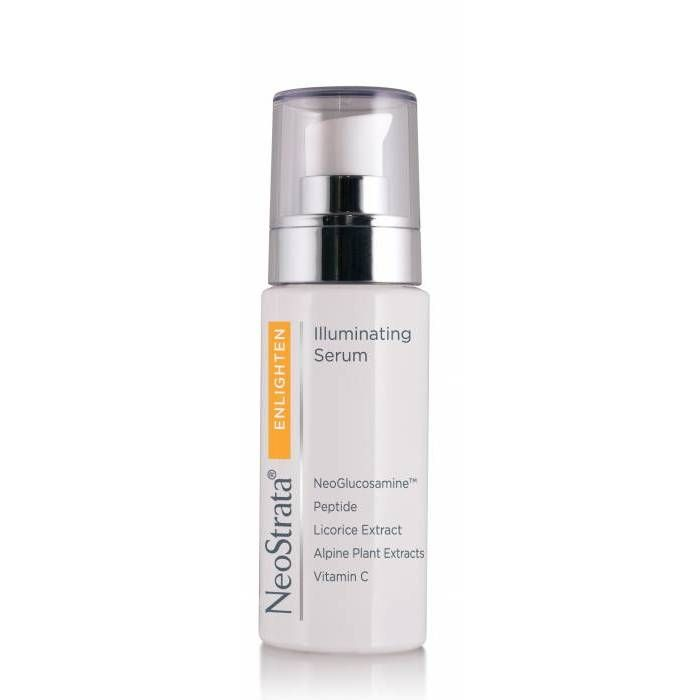 NeoStrata Enlighten Illuminating Serum is a lightening treatment serum to target dark spots and uneven skin tone. Contains 12 Active brighteners targeting 6 pigment control systems to help break up and reduce the appearance of existing facial pigmentation and discourage new dark spots from forming.