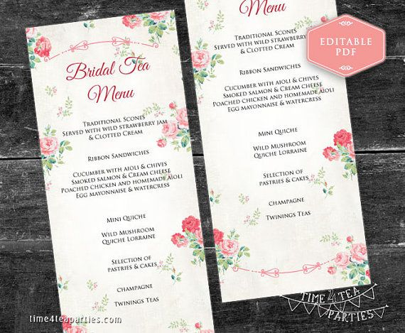 Pink Floral Tea Party Menu cards 3.75 x 9 inch. by Time4TeaParties
