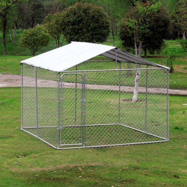 Pawhut 10 X 6 Outdoor Chain Link Box Kennel Dog House With 10 6 Cover Silver 10x10ft Pet Run Shade Cage Enclosure W Playpen Secure Outdoor Dog Shelter Dog