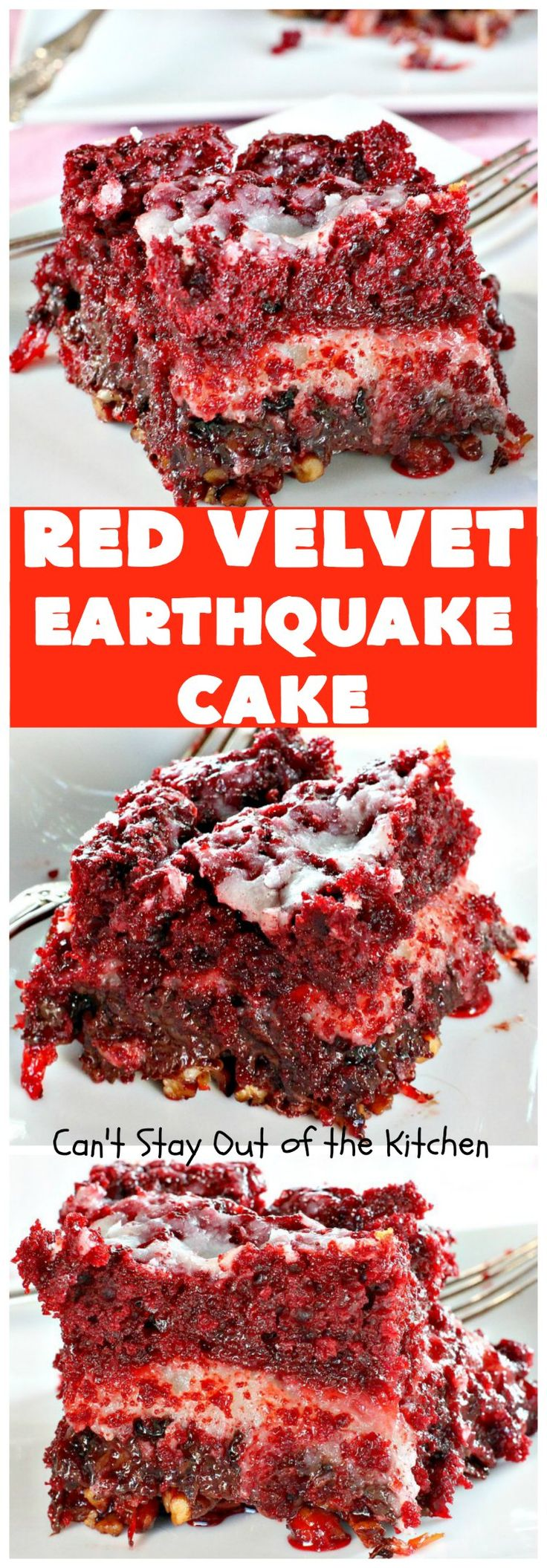 Red Velvet Earthquake Cake | Can't Stay Out of the Kitchen | This amazing #dessert experiences a volcanic shift while baking, so it craters and shifts layers like an earthquake. Our fabulous #redvelvet #cake is perfect for special occasions & #holidays like #Christmas & #ValentinesDay. #chocolate #cheesecake
