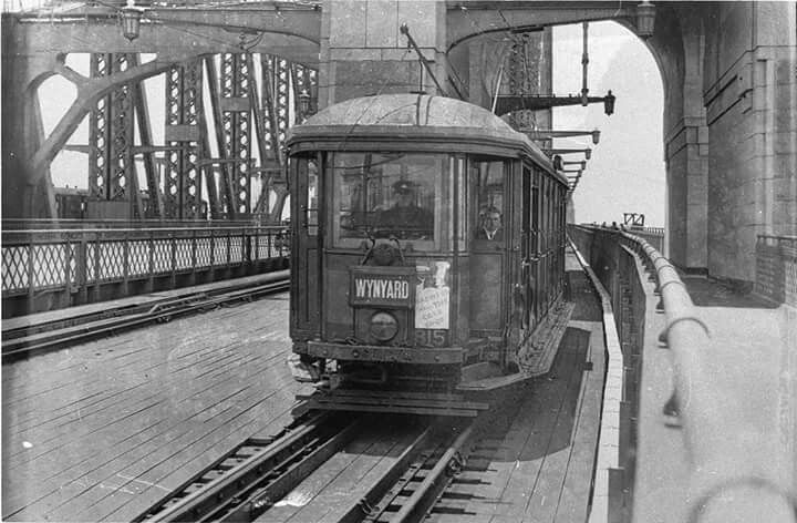 Wynyard bound tram on the Sydney Harbour Bridge in the 1930's. Photo by Ted Hood. v@e
