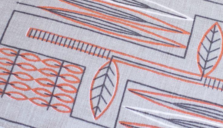 Scandinavian Tablecloth 'Pilblad' Gray Orange 1950s Table Topper Sweden 1960s Vintage  Mid Century Modern Handprinted by Wohnstadt on Etsy https://www.etsy.com/listing/212882102/scandinavian-tablecloth-pilblad-gray