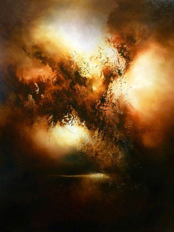 """Groot doek Abstract olieverfschilderij door Simon Kenny """"gelegd afval"""""""