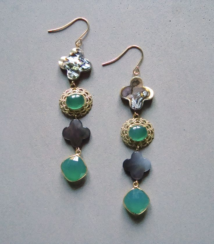 V I R E N T I — Grey clover Green Agate earrings. Four tier Grey clover earrings with green Agate. 3 inches long. — $48.00