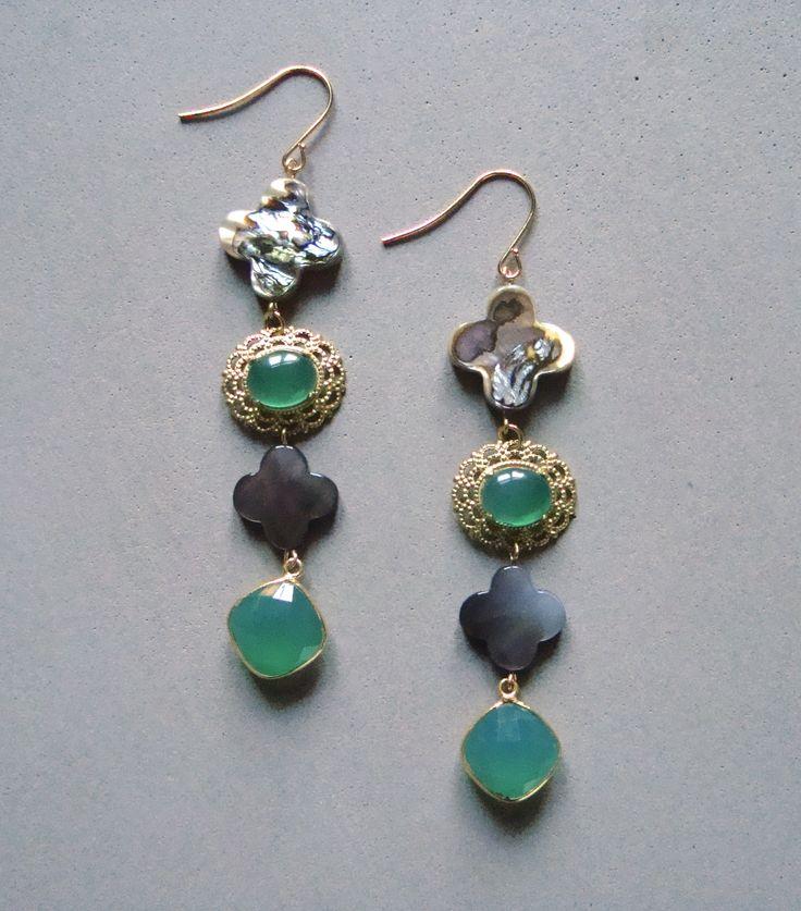 V I R E N T I — Grey clover Green Agate earrings. Four tier Grey clover earrings with green Agate. 3 inches long. — $48.00