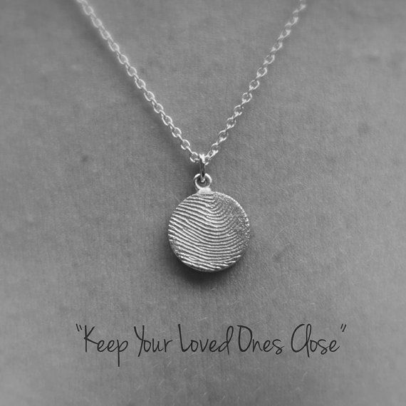 Fingerprint Necklace Silver/Personalized by SarahJewelleryDesign