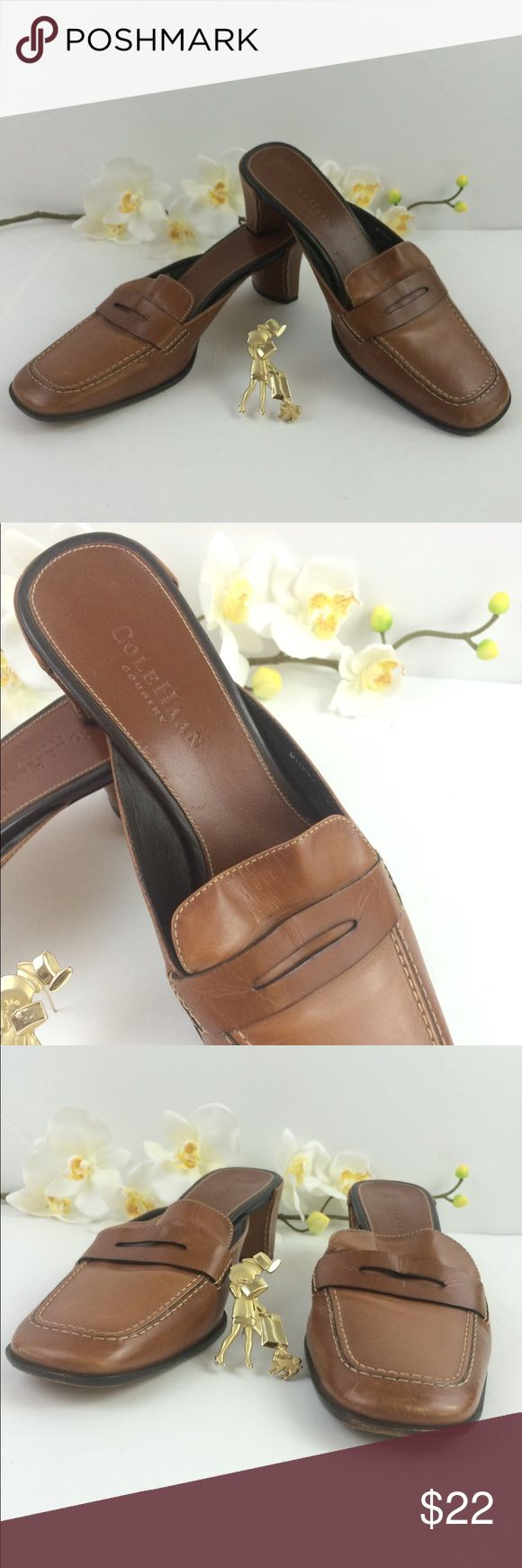 Cole Haan Country, mules shoes Sz 8.5 brown Cole Haan Country, mules shoes Sz 8.5 brown. Pre owned pre loved stores for awhile, please see pictures one shoe shows ware from storing not walking. Ask questions before buying please Cole Haan Shoes Mules & Clogs