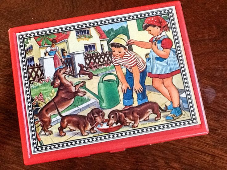 Vintage toy, wooden block puzzle. Made in West Germany. 5 lithographs and 12 blocks. by PattisPickins on Etsy