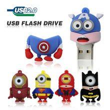 Los Minions Usb Flash Drive 16 GB 8 GB 4 GB Pen Drive de La vengadores Capitán América Iron Man Despicable Me Pendrive de memoria del Disco de U(China (Mainland))