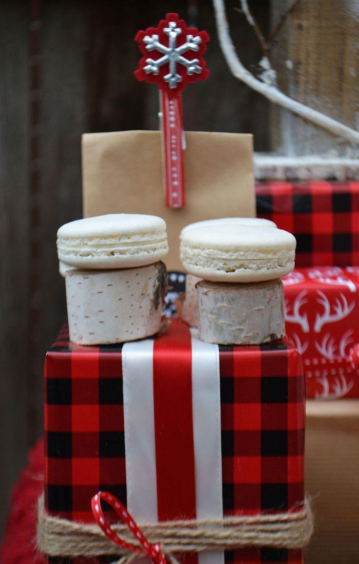 Vanilla bean macarons on birch pedestals. By Bake Sale Toronto.