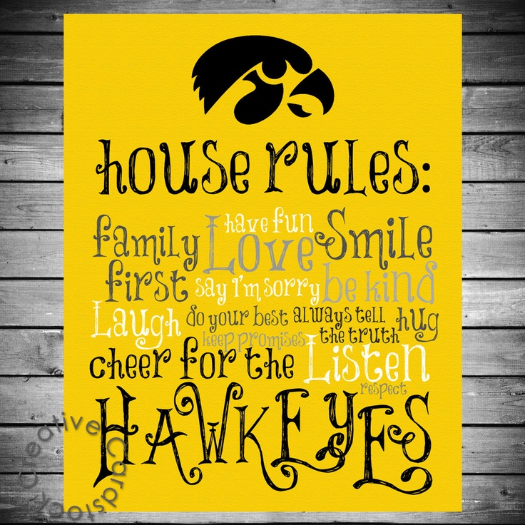 Iowa Hawkeyes House Rules  8x10 Printable by CreativeCardstock, $12.50