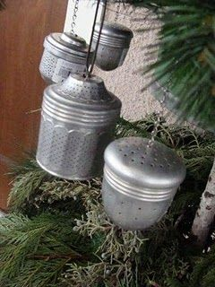 Use tea strainers as tree ornaments, fill with smell good herbs to warm the home for the holidays. I'm thinking rosemary and cinnamon.