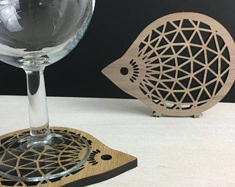 Hedgehog coaster - wood coasters - wall art - parametric design - architect gift - cute hedgehogs - gifts for architects - thank you gift