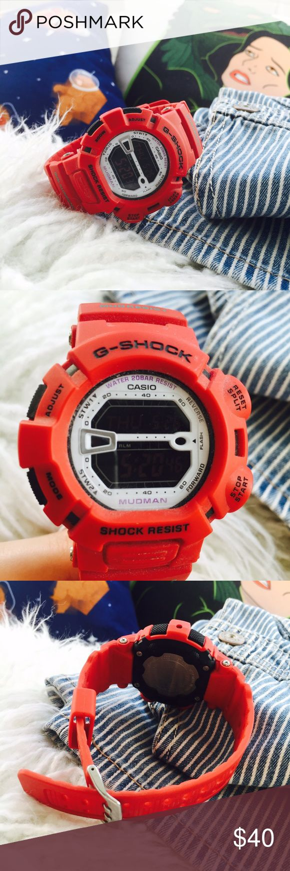 G Shock Red Mudresist Watch ❤️ worn with care, no damage at all. super cute everyday watch! ‼️NO TRADES NO PP‼️ G-Shock Accessories Watches