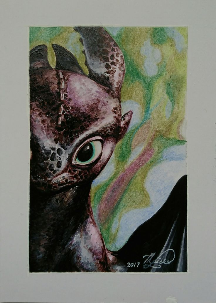Toothless the Night Fury.  Copic markers on Marker Paper. 11cm x 15cm.  #HowToTrainYourDragon #NightFury #toothless