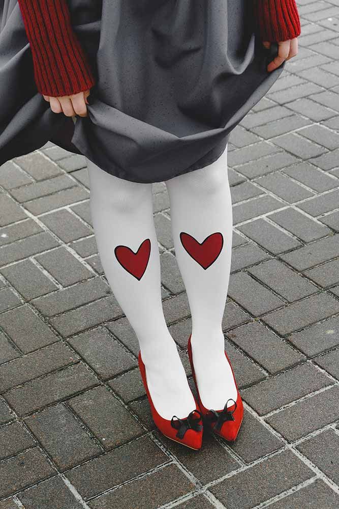 Valentine day gifts pantyhose with hearts