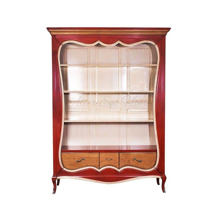 Открытый книжный шкаф из вишни с резным корпусом