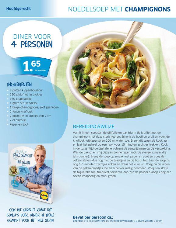 Noedelsoep met champignons  Een fantastisch lekker en goed gevulde soep!