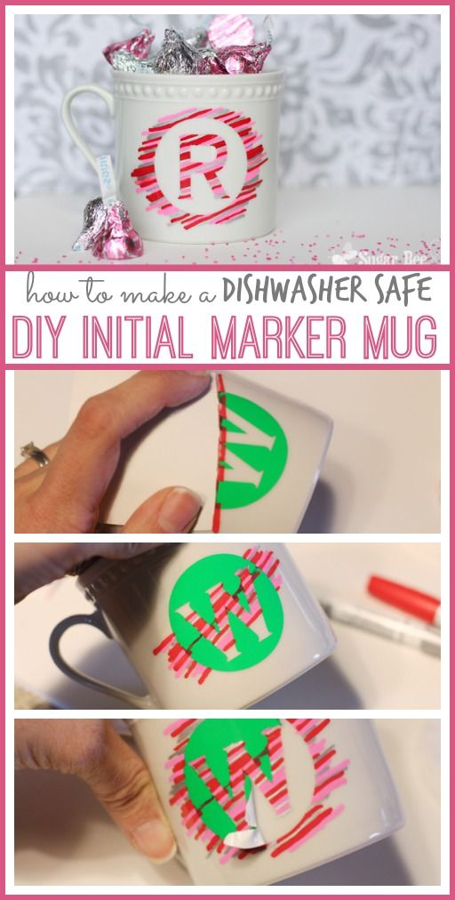 how to make a DIY initial marker mug dishwasher safe - - this is a super cute Valentine's Day craft project