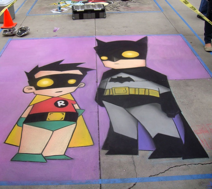 Batman and Robin chalk art at Chalk fest.Batman Chalk, Chalk Talk, Chalk Symbols, Chalk Fest, Robin Chalk, Chalk Art