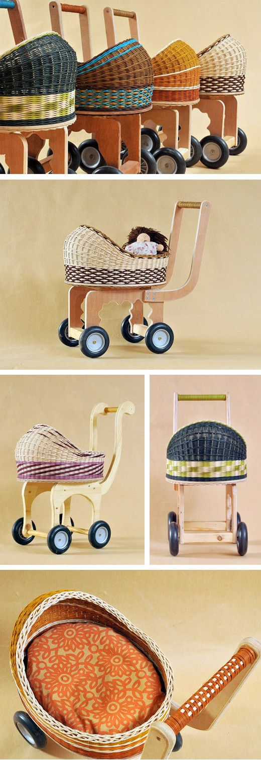 Handmade Woven Doll Prams, Wooden Doll Carriages, Vintage Style Doll Prams