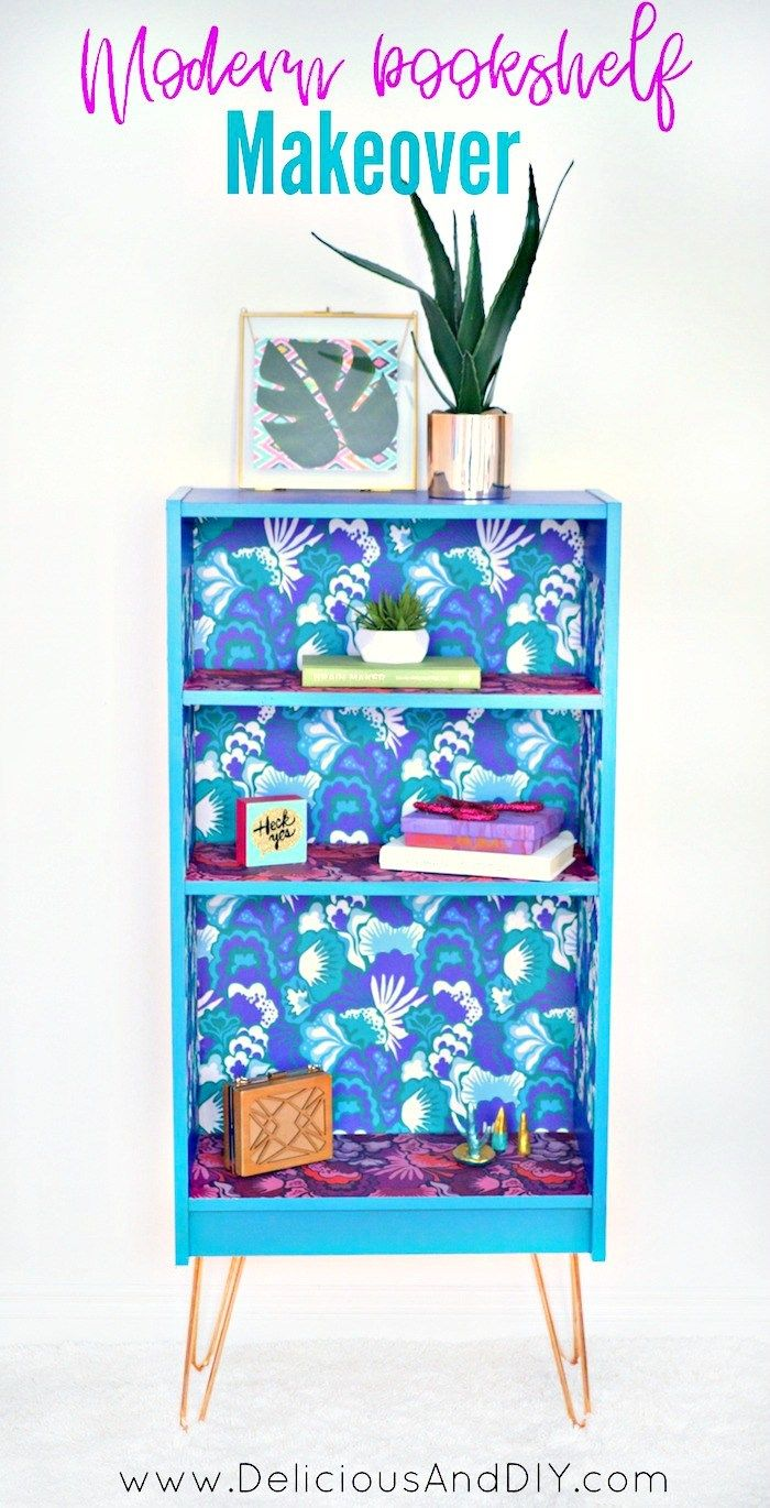 Create this beautiful makeover using Removable Wallpaper and Hairpin Legs and tr...